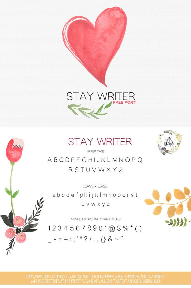 Stay Writer is hand drawn display #font, every single letters have been carefully crafted to make your text looks beautiful. It's With massive no of glyph.