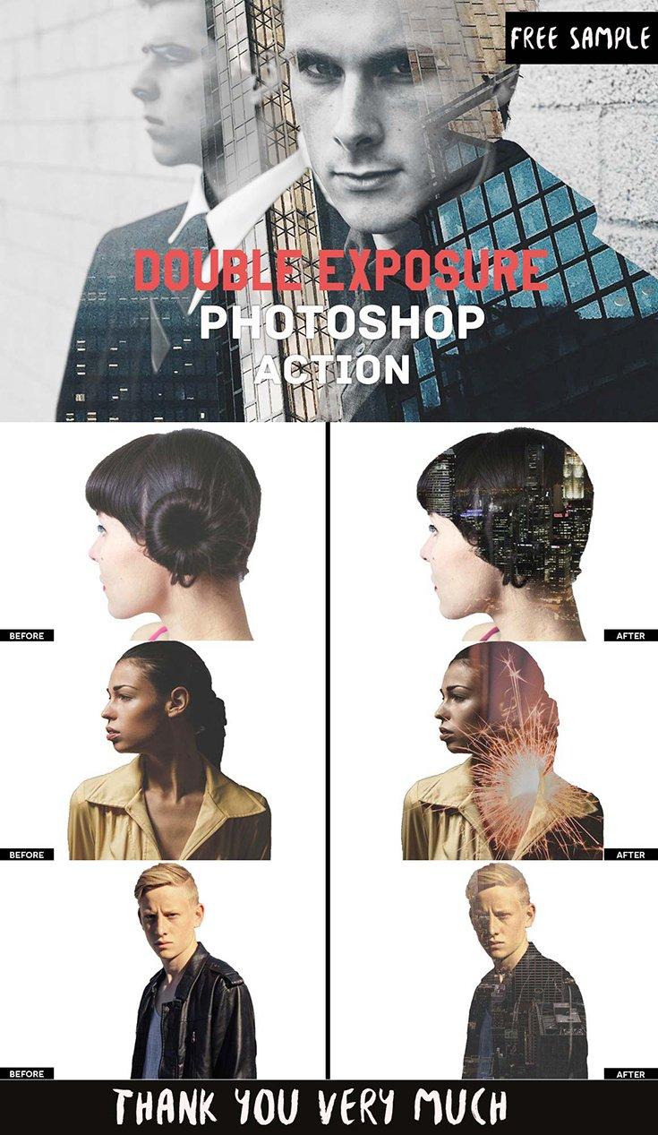 Free Double Exposure Photoshop Actions V.1