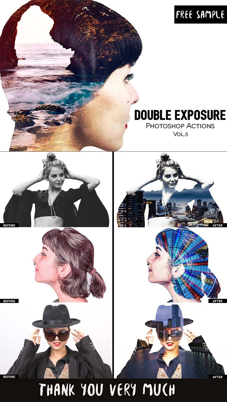 Free Double Exposure Photoshop Actions Vol. 5