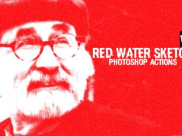 Free Red Water Sketch Photoshop Actions