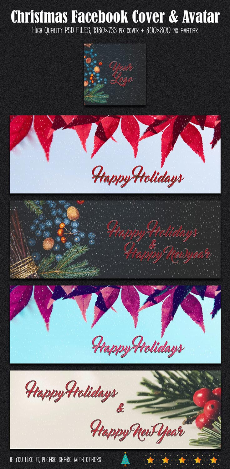 Free Christmas And New Year Facebook Cover & Avatar