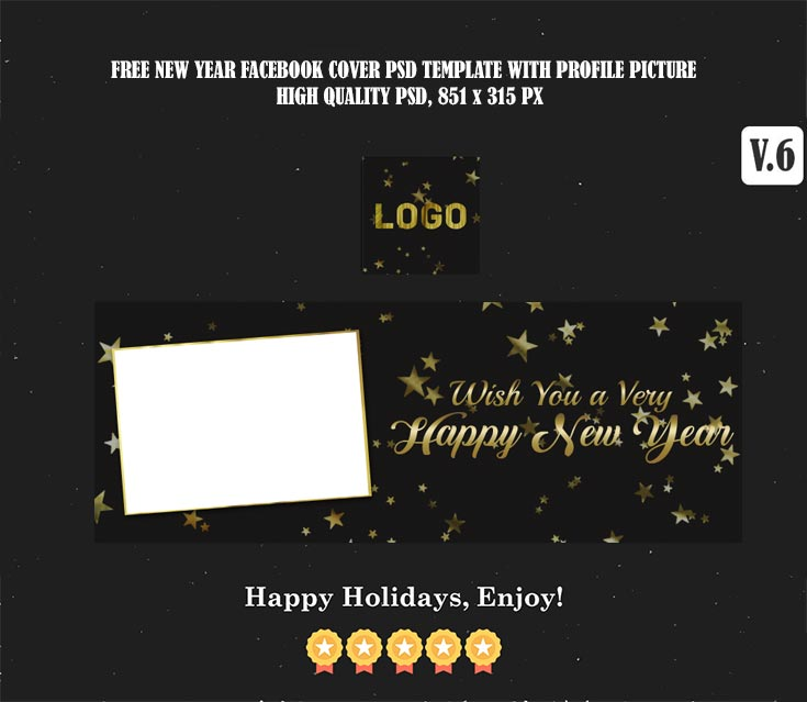 Free Christmas & New Year Facebook Cover PSD V.6