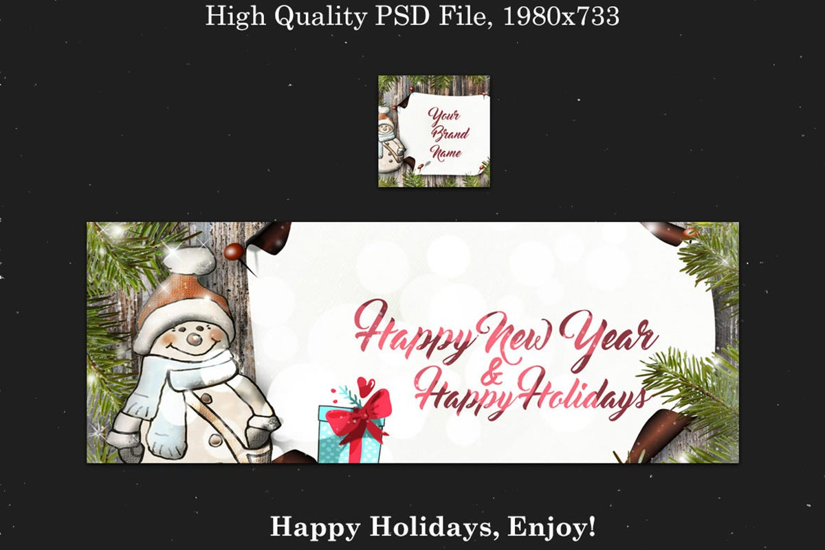 Free Christmas + New Year Facebook Cover PSD