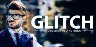 Free Glitch Effect PSD Photoshop Action Kit