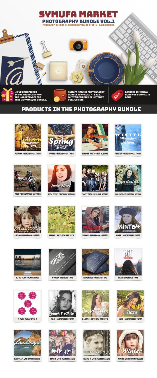 95% OFF Symufa Market Photography Actions & Presets Bundle Vol.1