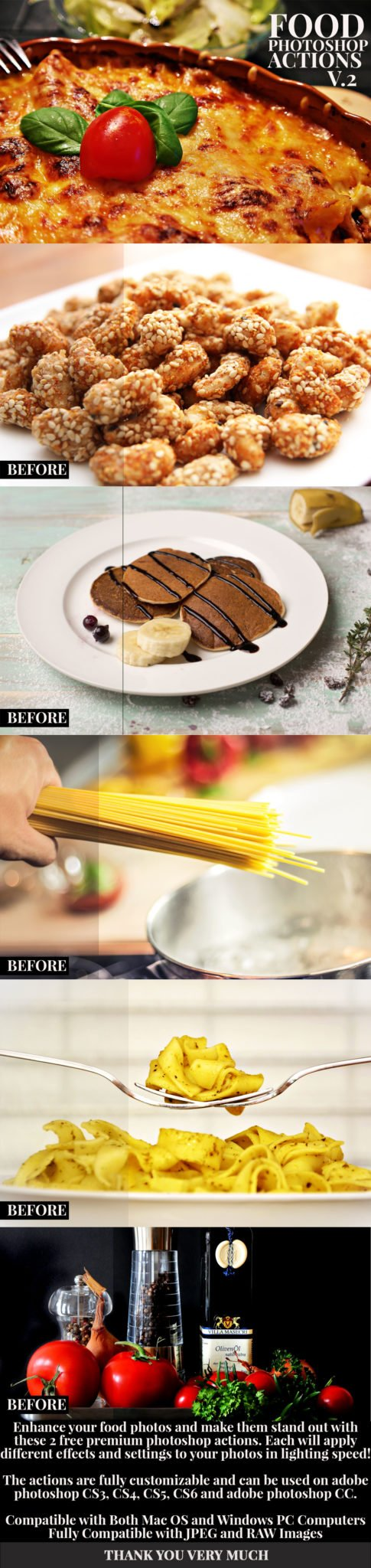 Free Food Photography Photoshop Actions V.2