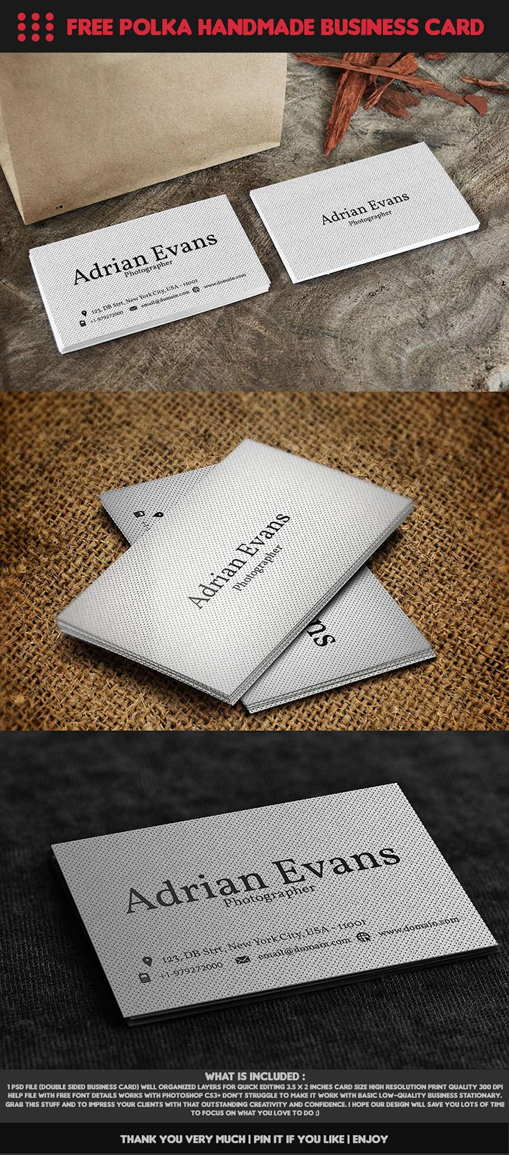 Free Polka Handmade Business Card
