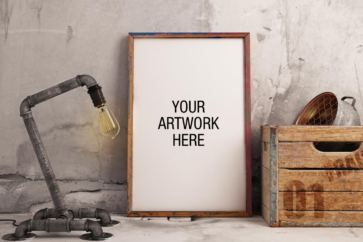 free frame mockup with industrial lamp style