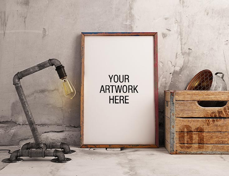 Free Premium Frame Mockup with Industrial Lamp Style