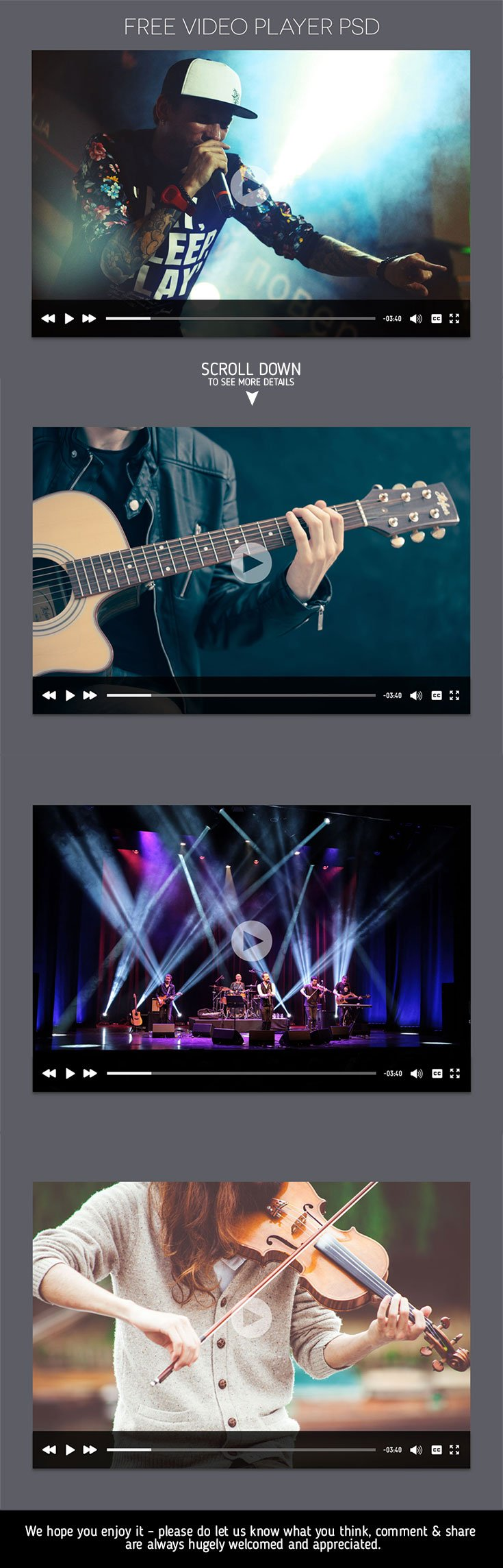 Introducing free video player #PSD , looks like similar to new #YouTube format and it can be used to create html version also.