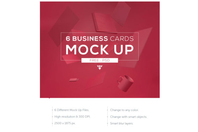 6 Free Business Cards Mockup