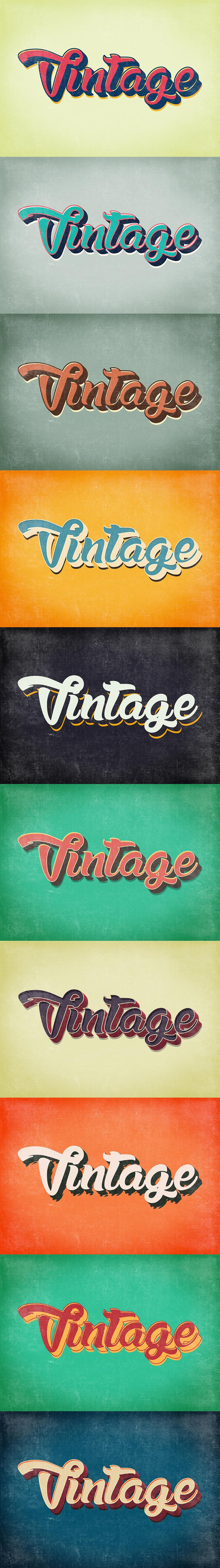 10 Free Vintage & Retro Text Styles for your creative projects. Turn your text/artwork, design into vintage and retro look just by one click!
