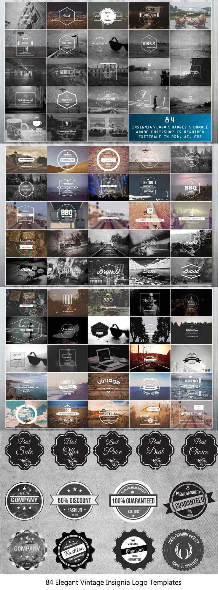 Free Elegant #Vintage #Insignia #Logo #Templates is a collection of premium blog, fashion, magazine style logo templates. Including 84 carefully designed vintage.