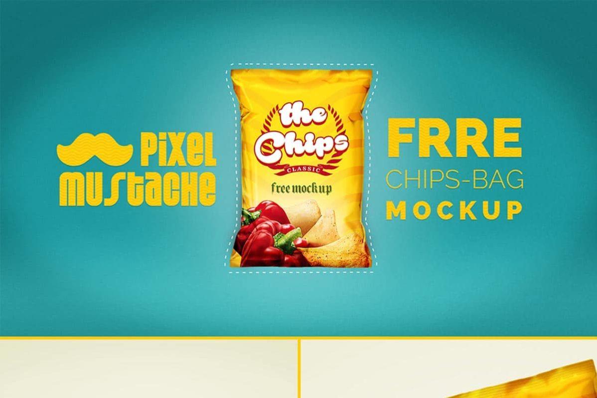 Free Realistic Chips Bag PSD Mockup