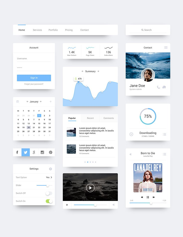 Ocean Flat UI freebie is a clean and minimal UI kit with diffused shadows, including everything from buttons and menus to graphs and media controls & more.