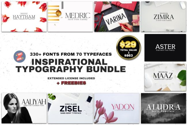 330+ Fonts in 1 Typography Bundle