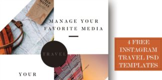 4 Free Instagram Travel PSD Templates