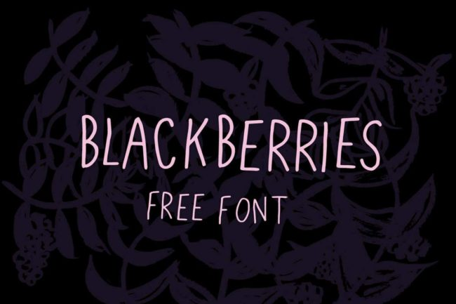 Free Blackberries Handwritten Font Typeface