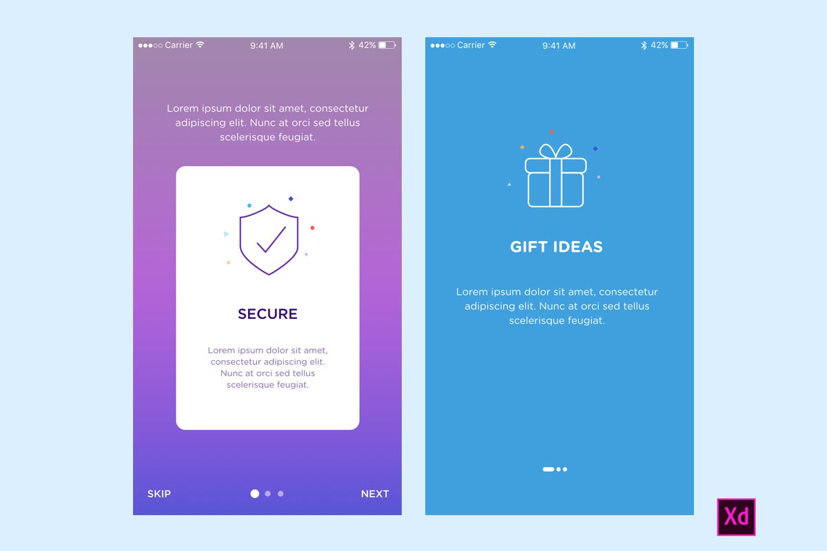 Onboarding App Screen for Adobe XD - Creativetacos