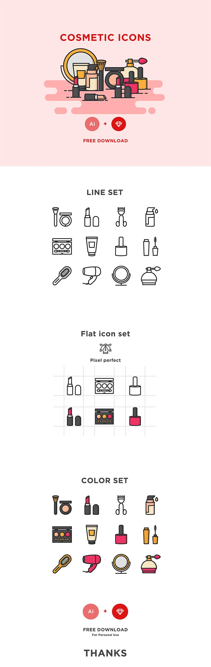 Free Cosmetic Icons Set