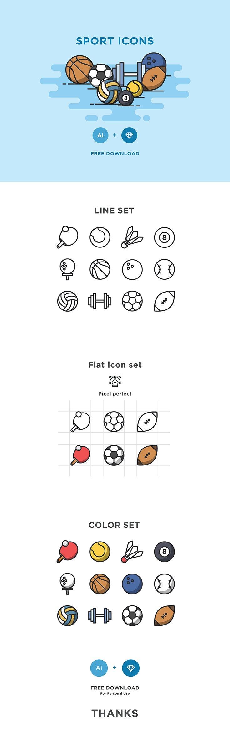Free Minimal Sport Vector Icons