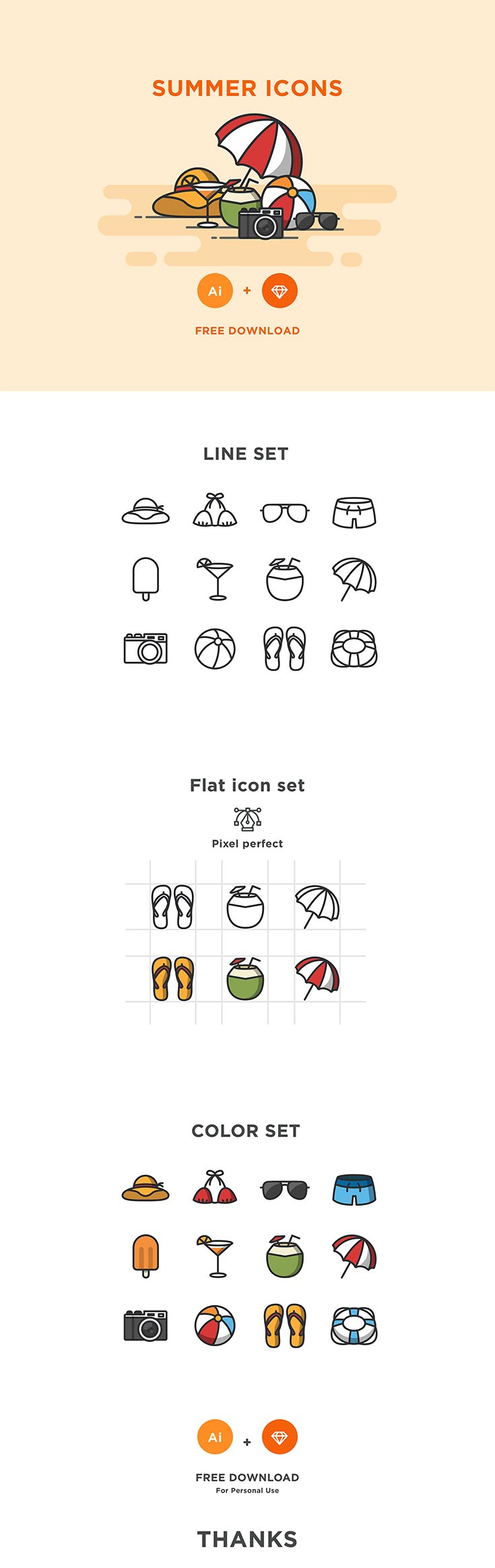 Free Summer Icons Set is amodern collection pack of 12 amazing icons that comes in Al and Sketch formats and well-crafted icons set covering the niche.