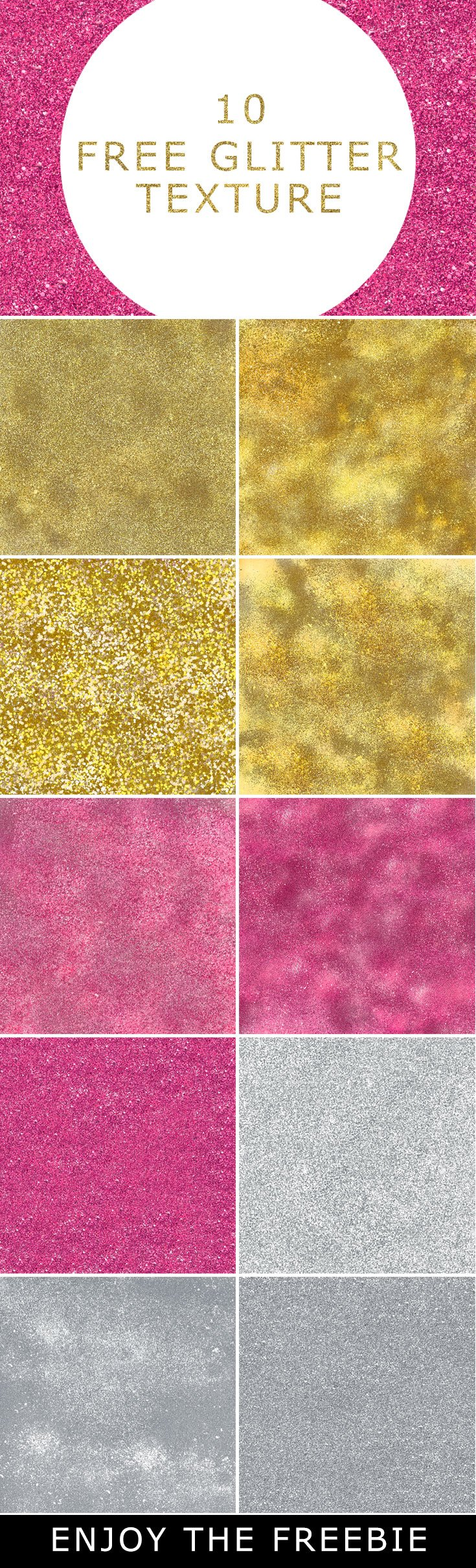 10 Free Glitter Textures have sparkly gold, rose gold and silver glitter textures effects, these are ideal for backgrounds and overlaying on text or shapes.