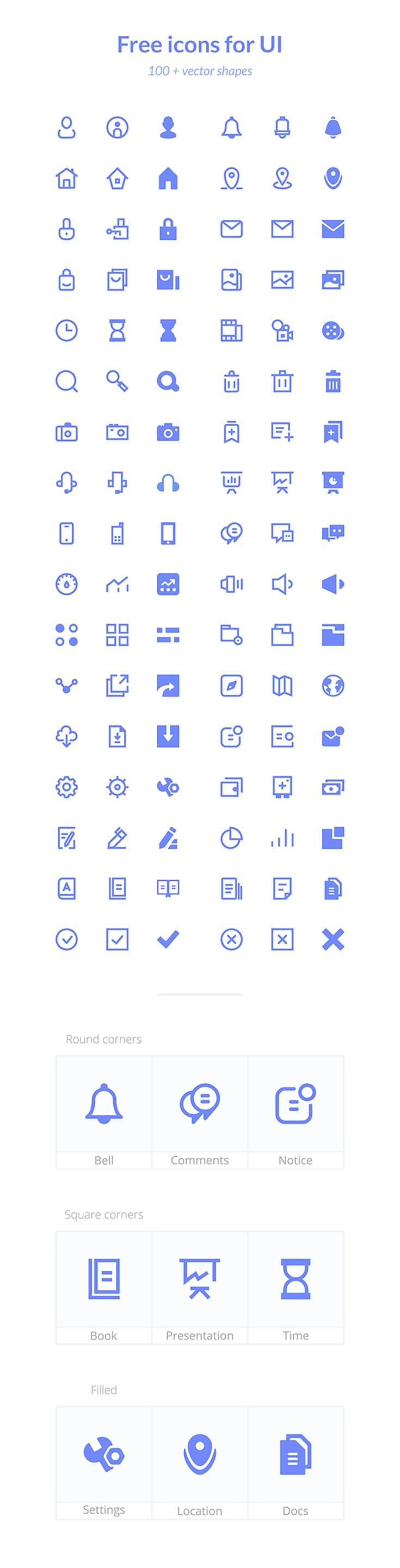 100 Free Basic Icons UI - Creativetacos