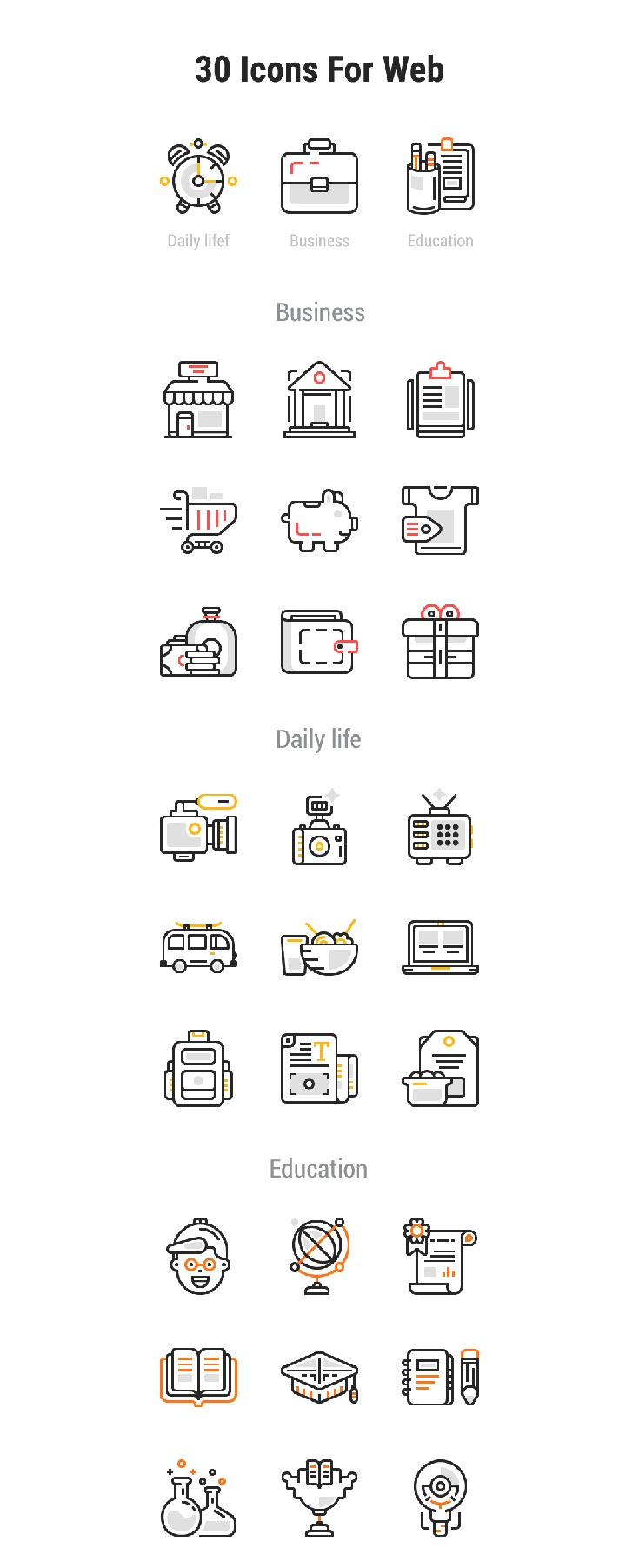 30 Free Web Design Vector Line Icons which contains many different types of icons such as Business, Daily life, food, education and much more.