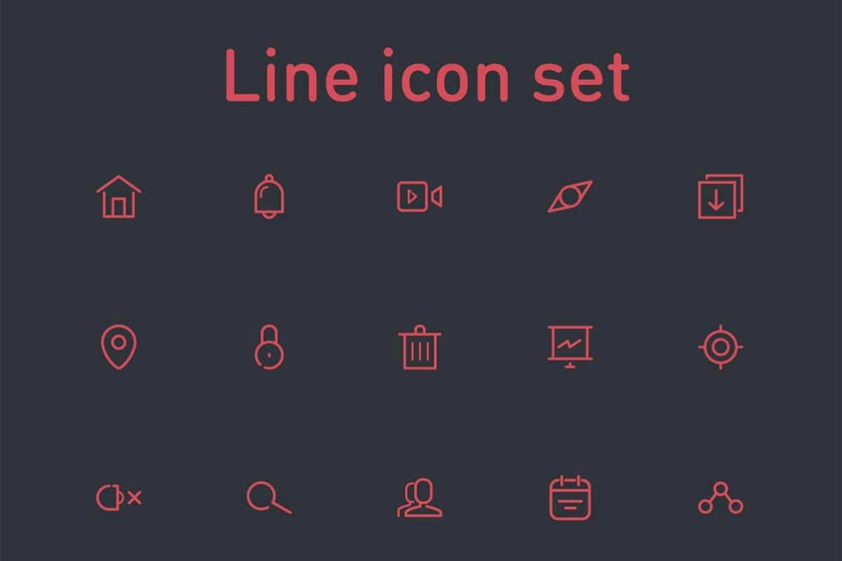 65 Free Line Icons Set