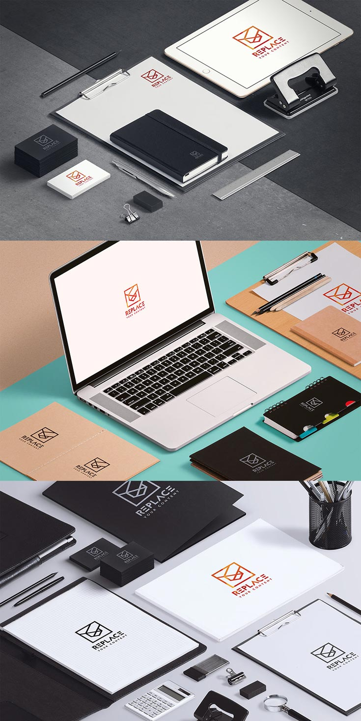 Free Isometric Stationery Mockup Demo
