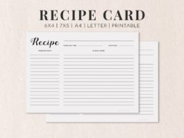 Free Cooking Recipe Card Template RC1