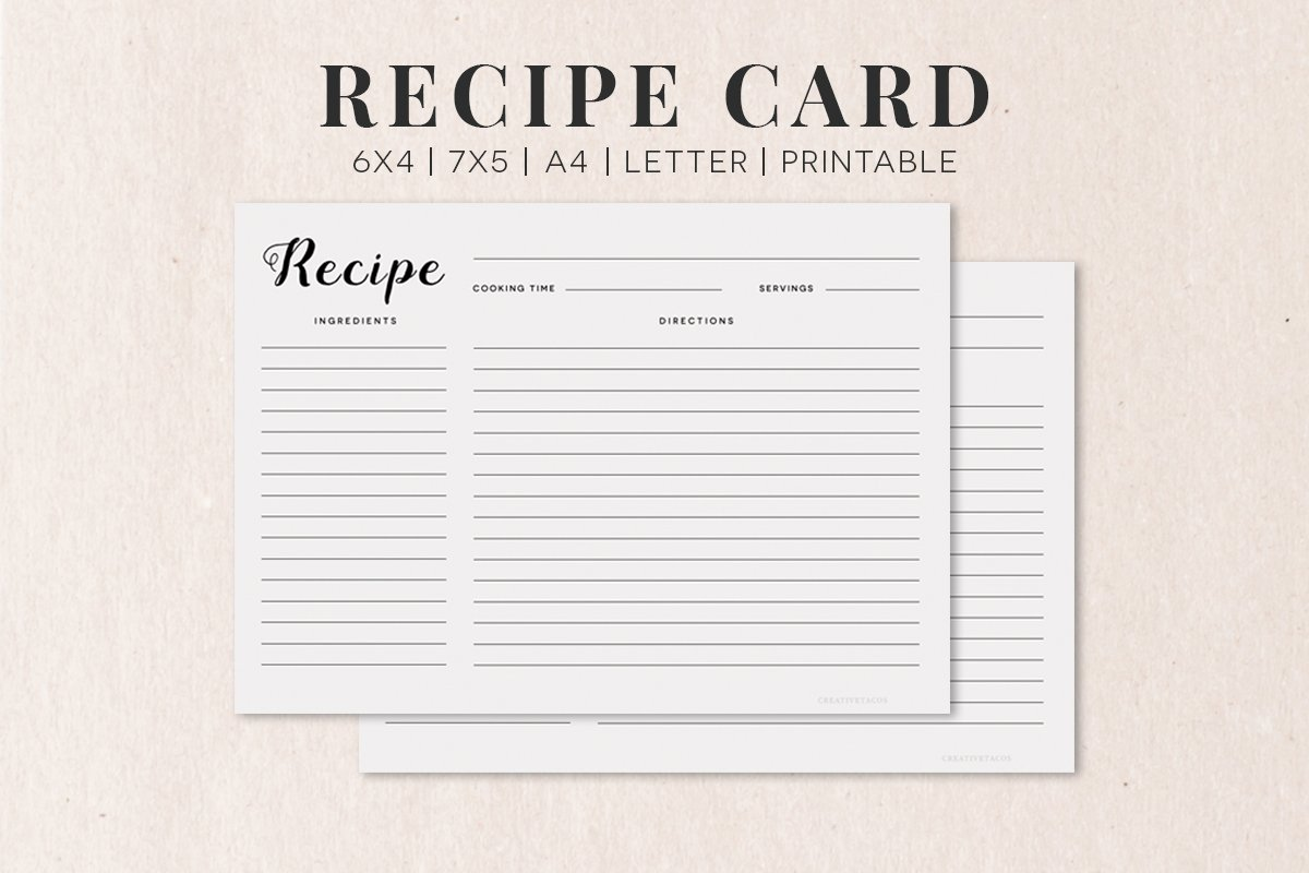 free recipe cards template