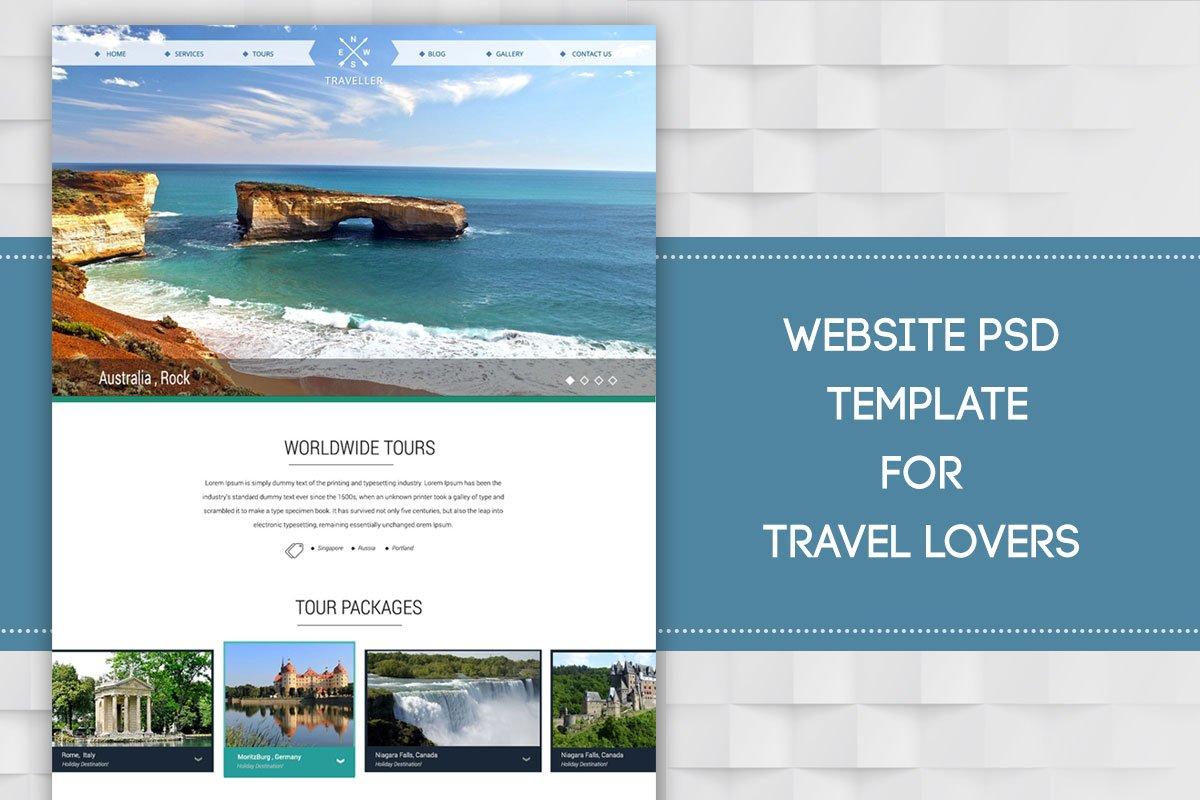 Free Travel Website PSD Template