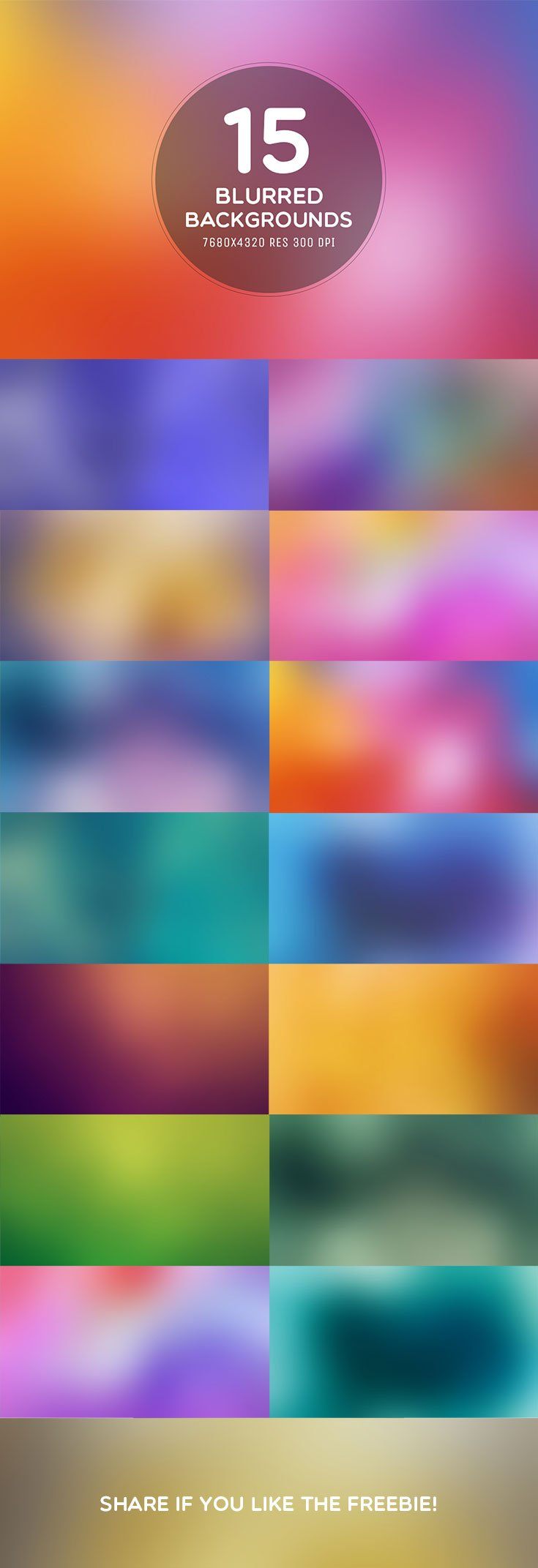 15 Free Blurred 8K Backgrounds pack includes 15 different lovely backgrounds elements with many gradient colors. You can use these on websites, apps etc.
