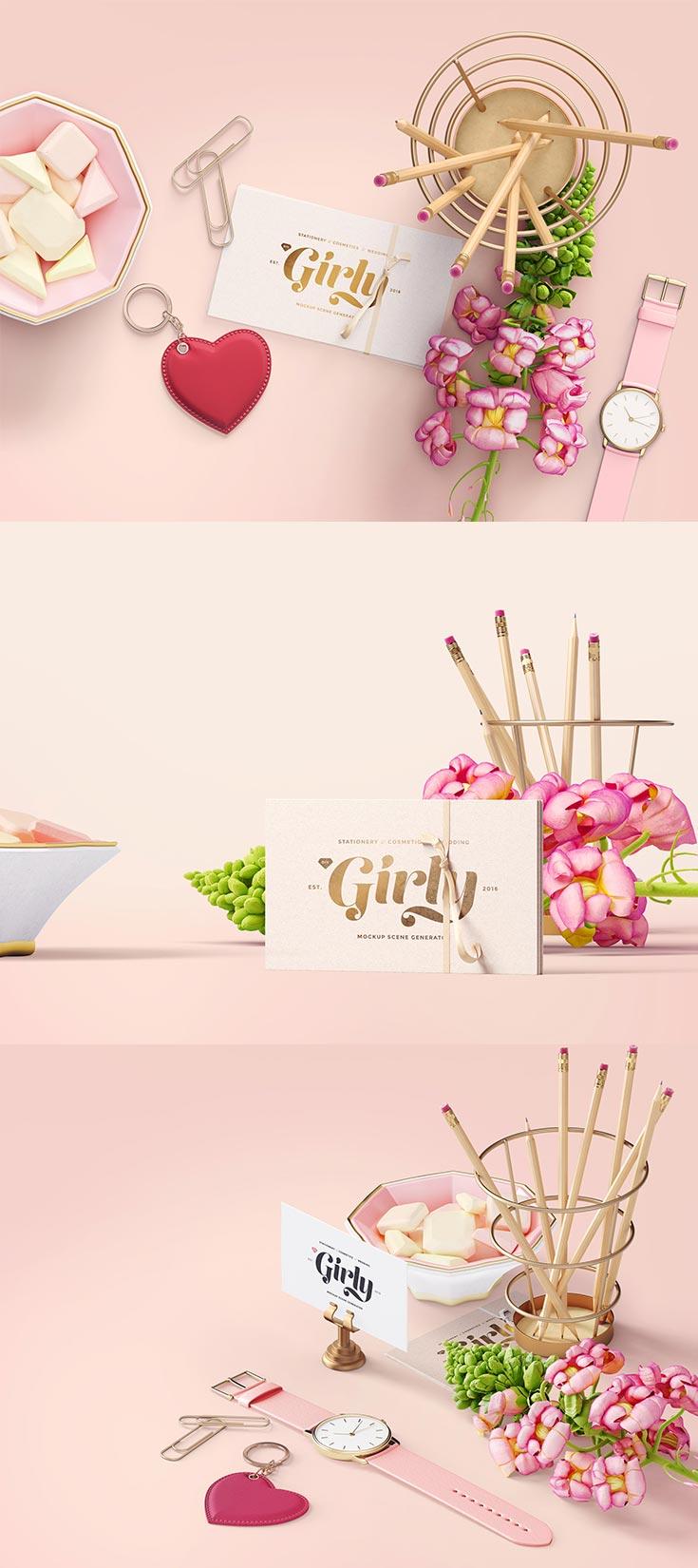 3 Free Girly Branding Mockups