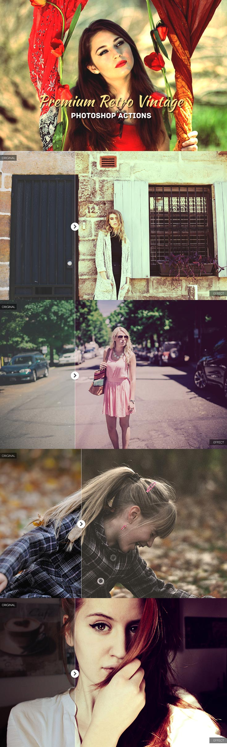 30 Free Retro Vintage Photoshop Actions Photography Editing, these effects are beautiful. These photoshop actions can be used in your RAW and JPEG images.