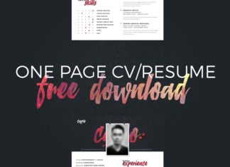 Free One Page CV Resume PSD
