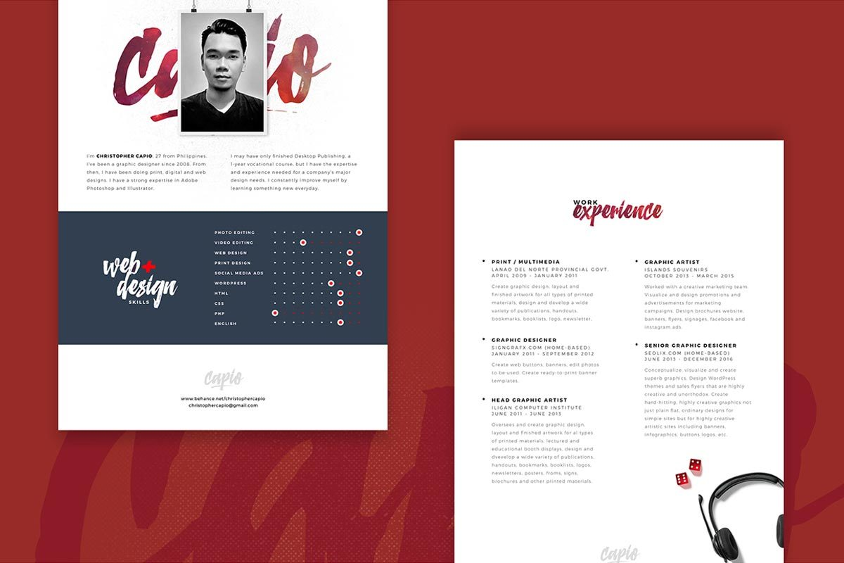 Photoshop Templates: Free Resume PSD Template
