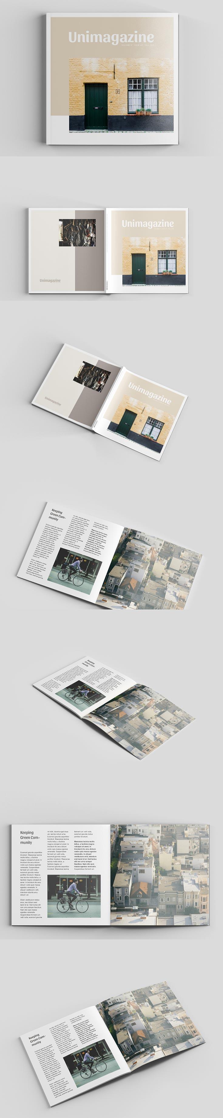 Free Square Magazine Mockup Version