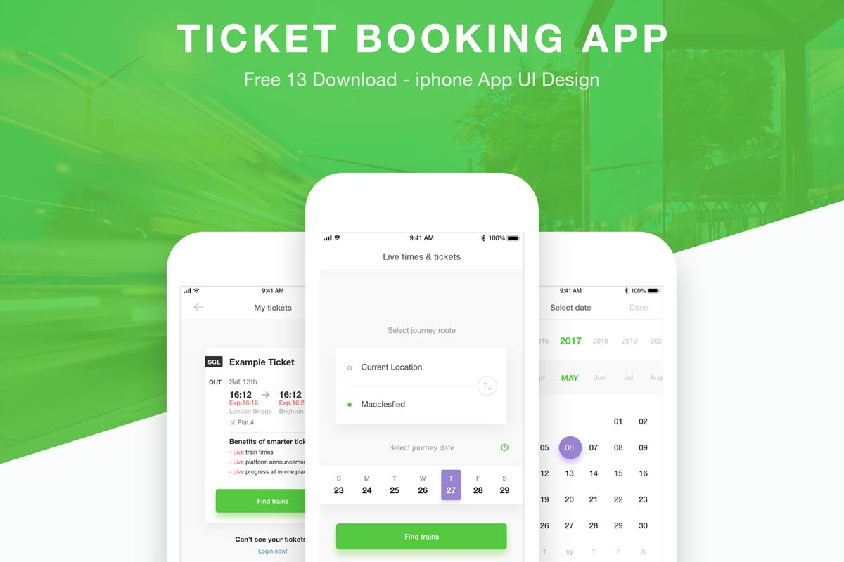Free Ticket Booking App XD Templates