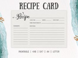 Free Cooking Recipe Card Template RC2