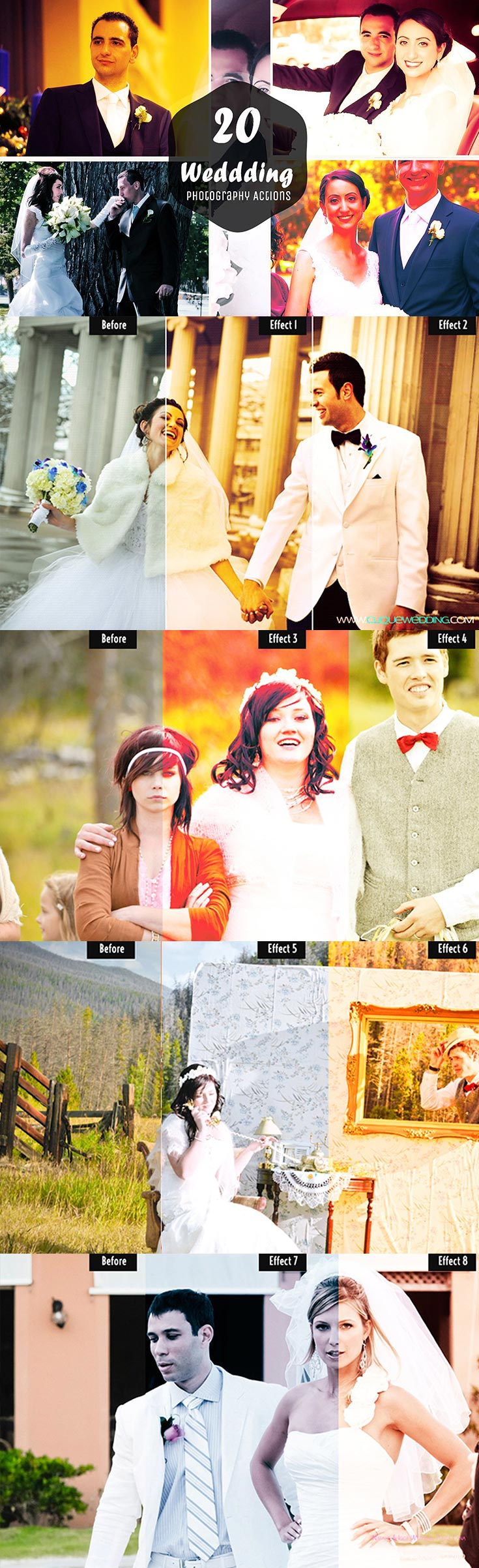 20 Free Wedding Photoshop Actions Ver 2 contains 20 professional, clean, colour-enhancing actions that are specialised for wedding photography.