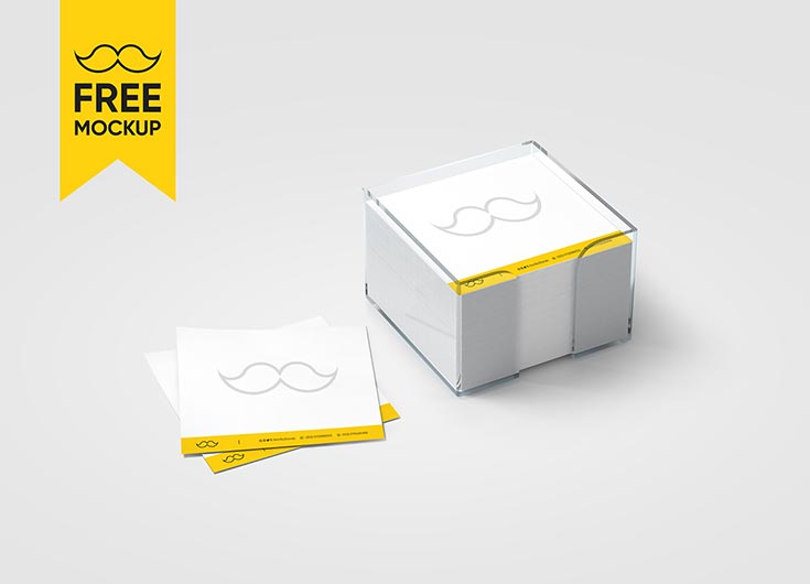 Free Note Block Mockup PSD