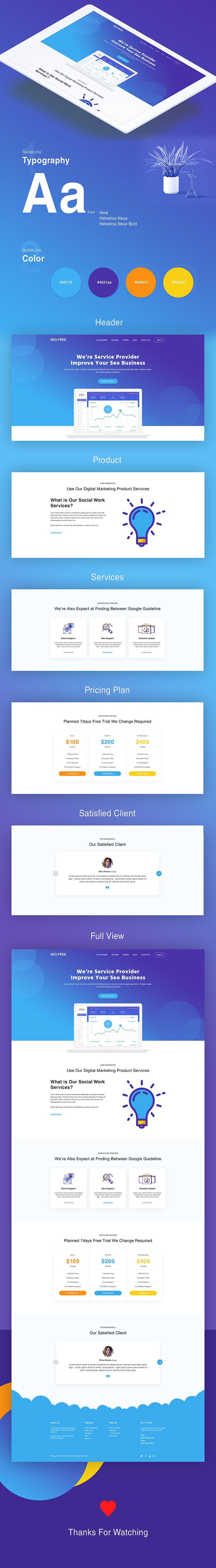 Free SEO Landing Page Concept UI template you can use it in your upcoming projects related to the web design. It is available in psd format.