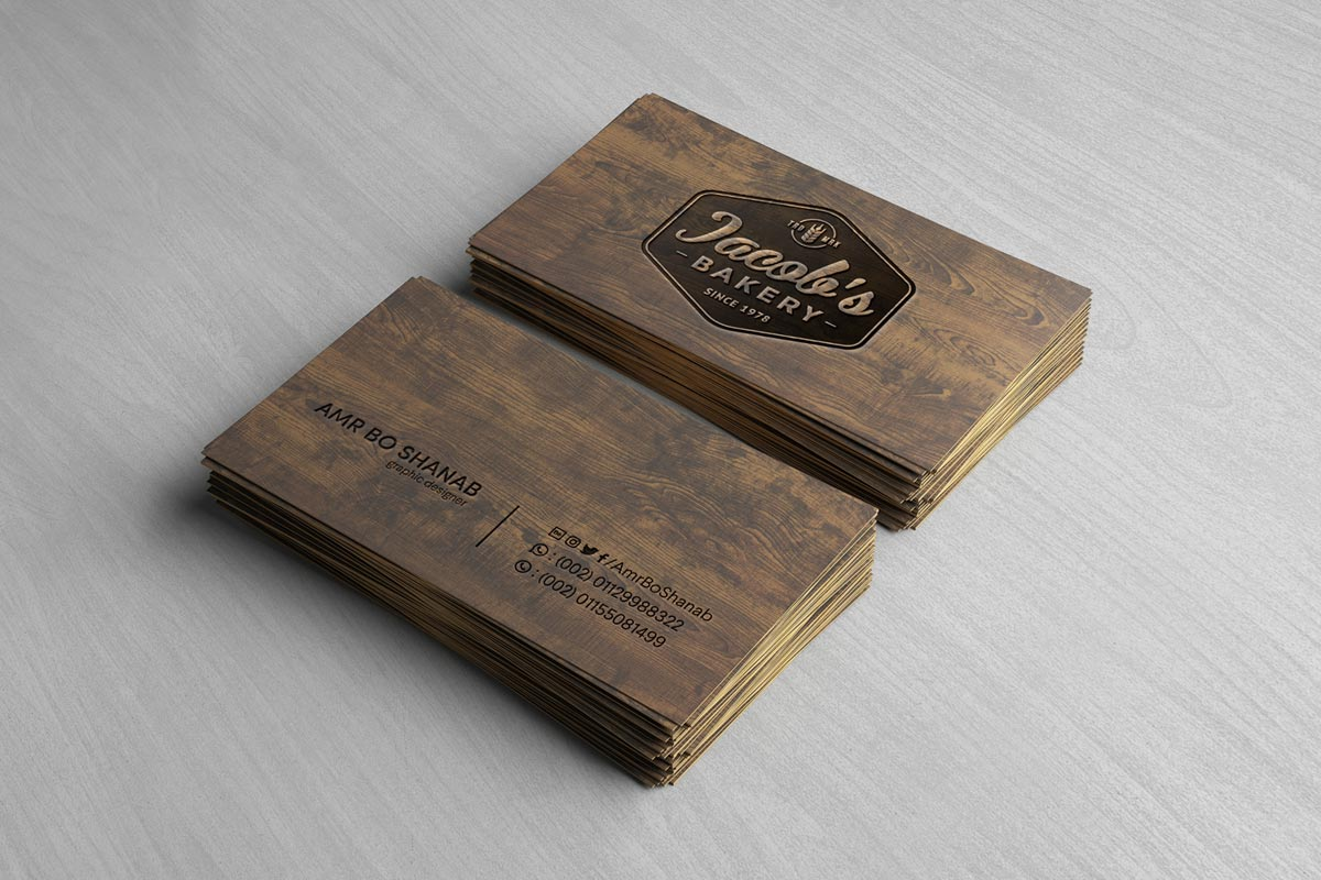 Free Wooden Business Card Mockup PSD - Creative Tacos