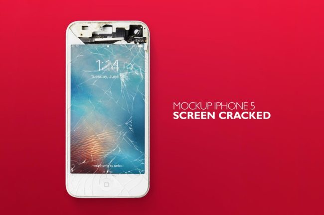 Free iPhone Screen Cracked Mockup