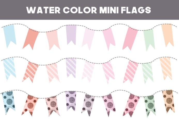 36 Free Water Color Mini Flag