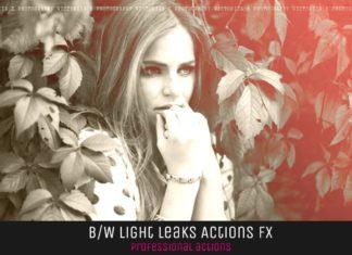 10 BW Light Leaks Photoshop Actions V1