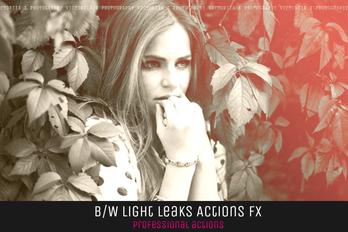 10 BW Light Leaks Photoshop Actions V1
